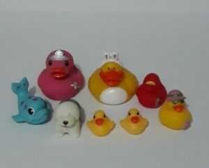 Rubber Plastic Bath Toys Duck Family Of 6 Blue Wale Made By Crayola & Shaggy Dog