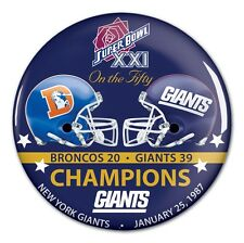 NEW YORK GIANTS DENVER BRONCOS SUPER BOWL XXI CHAMPS ON THE FIFTY BUTTON