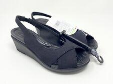 Crocs Women's Leigh Ann Slingback Wedge Heel Sandal Size 4 Black NEW