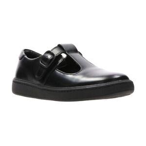 Clarks Girls Street Soar KnBlack Leather School Shoes Size UK 11.5 G