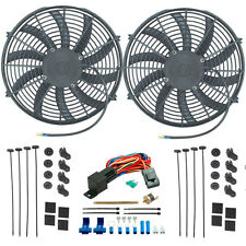 """TWIN 14"""" INCH ELECTRIC RADIATOR COOLING FANS PUSH-IN FIN PROBE THERMOSTAT SWITCH"""
