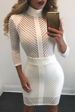 New Ladies White Stripped Mini,Bodycon,Evening,Party Dress Size S UK 10-12