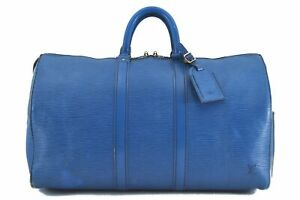 Authentic Louis Vuitton Epi Keepall 45 Boston Bag Blue LV C4467