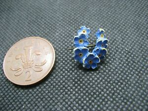 Vintage Celluloid Hand Painted Blue Flower Horseshoe Brooch.