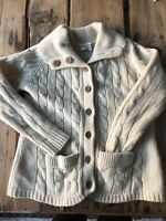 Vintage 100% Wool Chunky Cable Knit Wool Fisherman Sweater Cardigan Beige Large