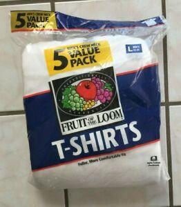 5 Vtg 90s FRUIT OF THE LOOM White Cotton T Shirt Lot Mens sz L Crew Neck New NIP
