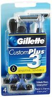 Gillette Custom Plus 3 Razors Sensitive 4 Each (Pack of 2)