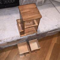 Vintage Kamenstein Thailand Wood 2 Drawer Recipe Mail Pen Storage Case Desk