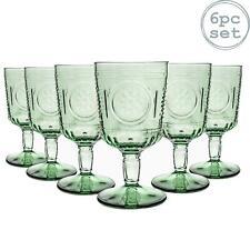 6x Wine Glasses Set Italian Red Wine Cut Glass Goblets Vintage Style Green 320ml