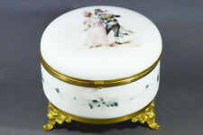 ANTIQUE 18 CM PERFECT BIG SATIN GLASS FRENCH FRANCE BOX JEWELRY AND BRONZE MOUNT