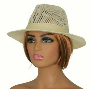 Fedora Hat Men's Women's One Size Ventilated Perforated Style Beige Straw Colour