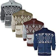 NEW MENS CLASSIC ZIP UP CARDIGAN ARGYLE DIAMOND GRANDAD AZTEC TWO FRONT POCKETS
