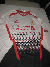 LIVERPOOL- RAHEEM STERLING HAND SIGNED 2013-14 AWAY JERSEY + PHOTO PROOF + C.O.A