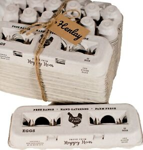 Vintage Design with Blank Center for Your Custom Stamp at a Bulk Price Sturdy /& Reusable Holds Small to XL Chicken Eggs 100/% Recycled Biodegradable Cardboard Cartons PROLINE 125 Egg Cartons