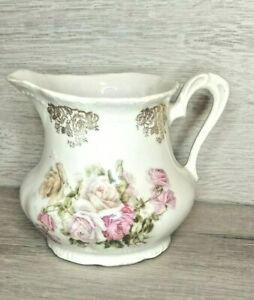 Vintage White Creamer Dish Only, Pink Rose Design