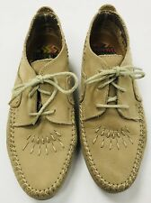 Hush Puppies Womens 7.5 W Easy Times Nubuck Leather Moccasin Style Shoes Beige