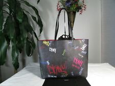 NWT DKNY PVC  Signature Brayden Graffiti Reversible Tote Black/Red/Multi