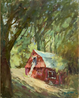 Original Oil Painting ( Red Barn Hideaway ) canvas board size 11x14 Single piece