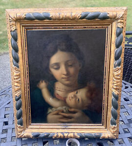 19th Century Italian Madonna And Child Rosary Oil On Canvas Board Painting