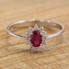 Anillo de ORO Blanco 18 ct 750 con rubí y diamantes Joyería Compromiso Mujer