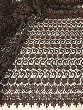 "BROWN FLOWER GUIPURE FRENCH VENICE BRIDAL LACE FABRIC 45"" 1 YARD"