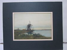 ANTIQUE WATERCOLOR PAINTING DUTCH WINDMILL SCENE SIGNED E M YIDEROR 1920