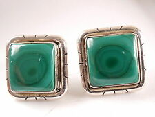Green Malachite Square Stud Earrings Groove Accented 925 Sterling Silver a201a
