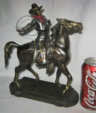 ANTIQUE K&O USA COWBOY WESTERN RODEO HORSE CLOCK STATUE SCULPTURE DOORSTOP TOOL
