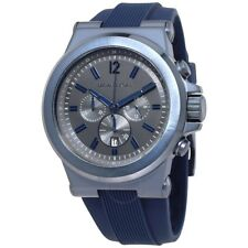 Michael Kors Dylan Men's Blue Silicone Grey Dial Chronograph Watch MK8493 NEW