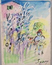 Peinture / Technique mixte Robert SAVARY Enfant dans le jardin...