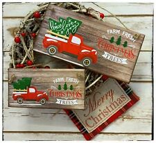 Hanging sign Winter Rustic Farm Fresh Christmas trees with red truck car pickup