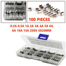 100Pieces Universal 5X20mm Glass Fuse Quick Blow Acting Tube 250V 0.2A to 15A