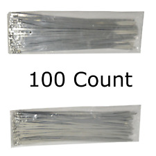 """12"""" QTY 100 Stainless Steel Wire Zip Tie Industrial Strength Self Locking Band"""
