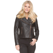 Marc NY Womens Leather-Look Moto Jacket w/ Fur-Look Collar Black M #NKTVB-1075