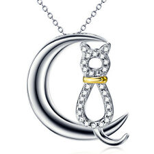 925 Sterling Silver White Crystal Cz Cat and Crescent Moon Necklace Pendant 18""