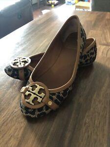 Tory Burch Brown Black Gold Ballet Flats Shoes Size 6.5M