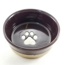 """NEW 6.25"""" SPECKLED BISQUE PURPLE DOG BOWL By Signature Housewares, Inc PAW PRINT"""