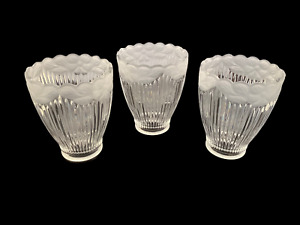 """3 Ribbed Clear Glass Ceiling Fan Shades Frosted Floral Trim 5""""x1.5""""x4"""""""