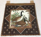 Country Quilt Wall Hanging, Canada Goose, Leaves, Hand Quilted, Brown, Black