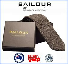 BAILOUR Tie Mens Luxury Handmade Grey Formal Wool Skinny Slim