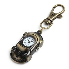 Antique Bronze Tone Car Quartz Key Ring Pocket Pendant Watch Boy Girl Kids Gift