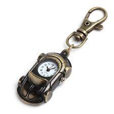 Antique Bronze Tone Car Quartz Key Ring Pocket Pendant Watch Boy Girl Kids Gift