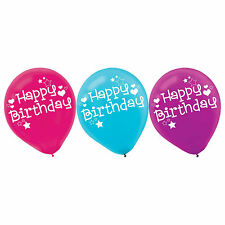 """6 Happy Birthday Party Blue Pink Purple Printed 12"""" Latex Balloons"""