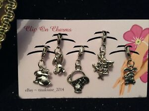 Clip on Charms - x5 Easter (Rabbits, Wonderland Rabbit, Bunny & Easter Lily)