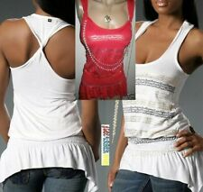 NWT Apple Bottoms X-OPEN back chain necklace pearl tank top RED 3X