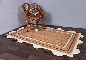 bohemian scalloped rug beige & white/brown colour rug antique rug floor jute rug