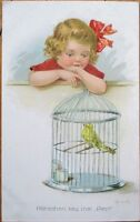 E. Frank/Artist-Signed 1915 Color Litho Postcard: Canary in Cage, Girl