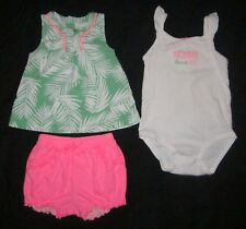Infant Girls CARTERS Palm Bodysuit & Shirt & Shorts Summer Outfit - 24 months
