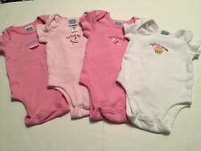 Lot of 4 Bodysuits/Rompers Girl NB TWINS My First Bath Toy Rattle Cupcake Pink
