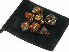 New Chessex Polyhedral Dice with Bag Blue Blood Scarab 7 Piece Set DnD RPG